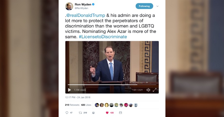 Senator Wyden Echoes Family Equality Council Call: No License to Discriminate at HHS