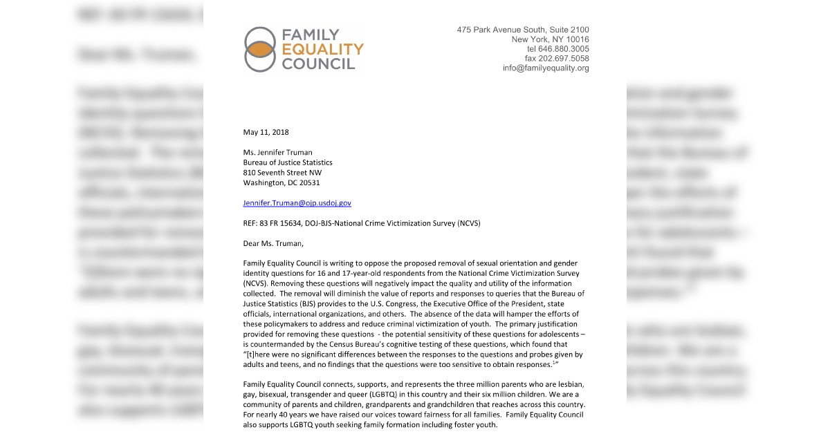 FAMILY EQUALITY COUNCIL TELLS JUSTICE DEPARTMENT: DON'T ERASE LGBTQ YOUTH FROM RESEARCH ON VIOLENCE