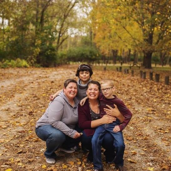Anne and Angie with their Two Children in the Fall