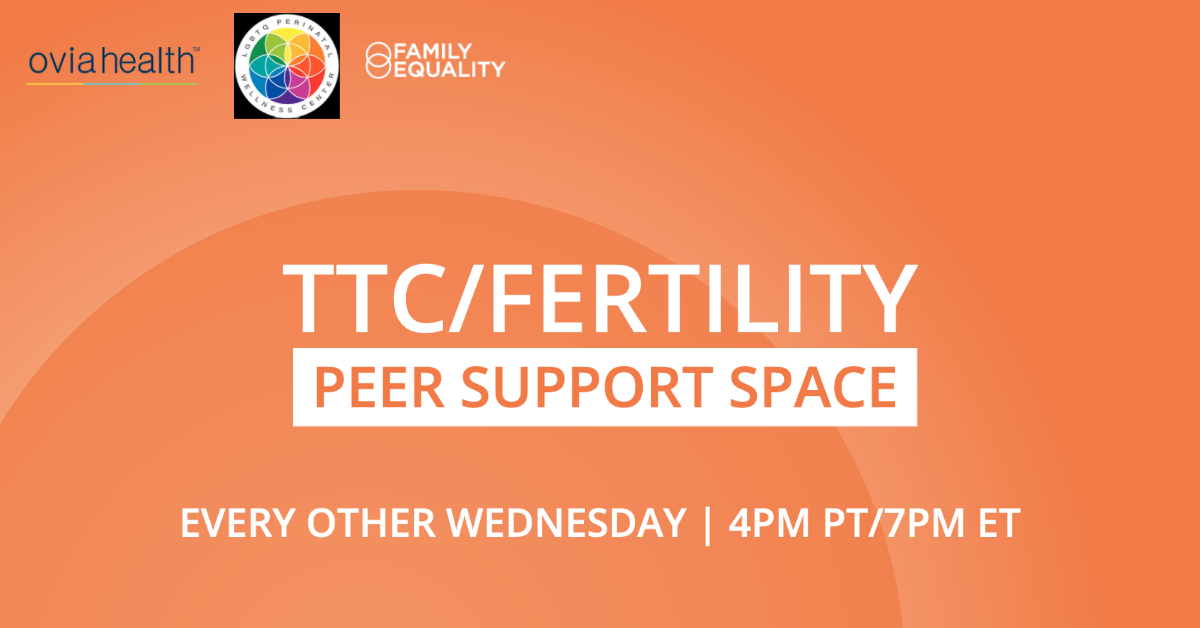 """Text that reads, """"TTC/Fertility Peer Support Group 