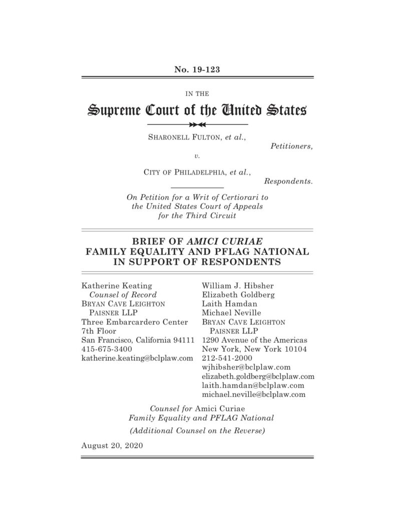 Family Equality Fulton Amicus Brief Cover