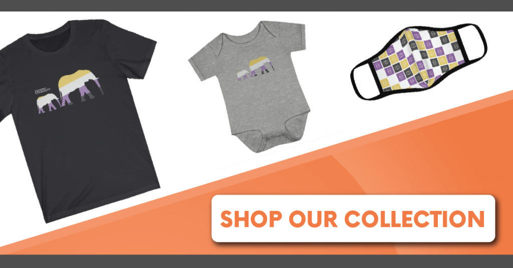 """Photo of a Tshirt, a baby onesie, and a mask with text that says, """"Shop Our Collection."""""""