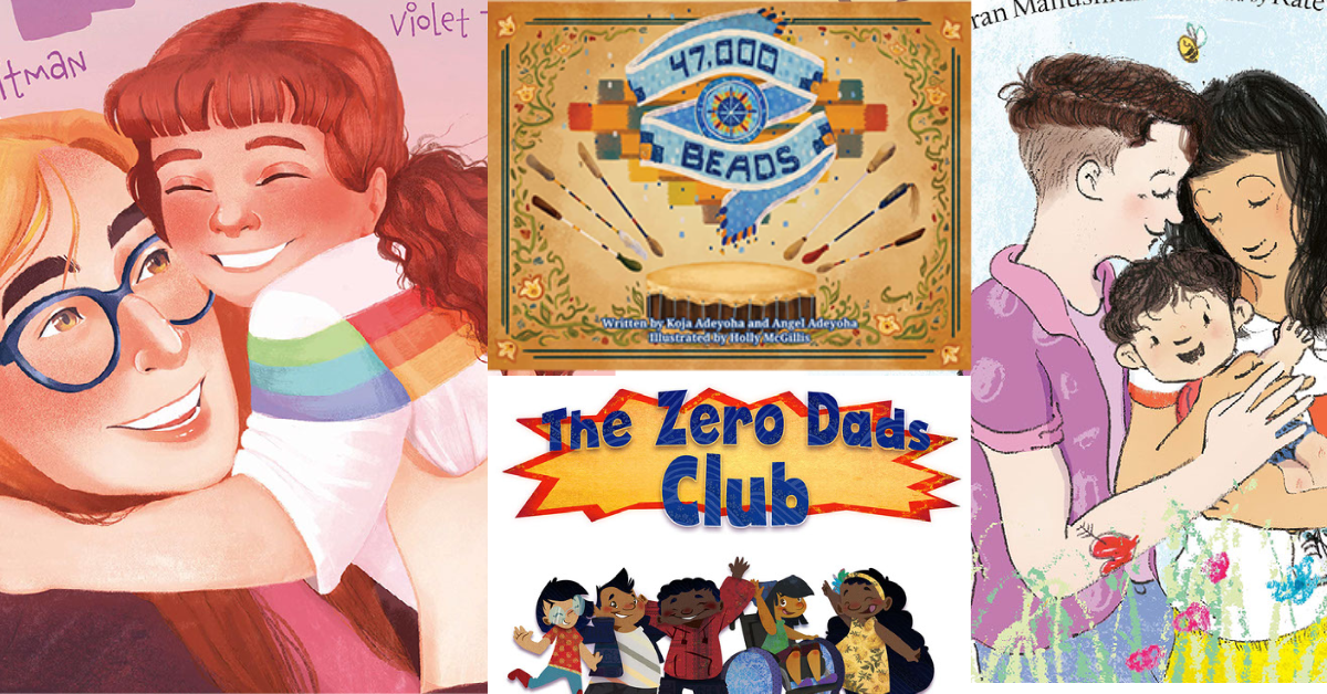 Collage of cropped book covers including My Maddy, 47,000 Beads, the Zero Dads Club, and Plenty of Hugs