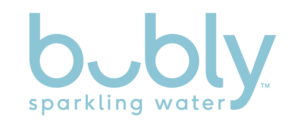 """blue text that says, """"bubly sparkling water"""""""