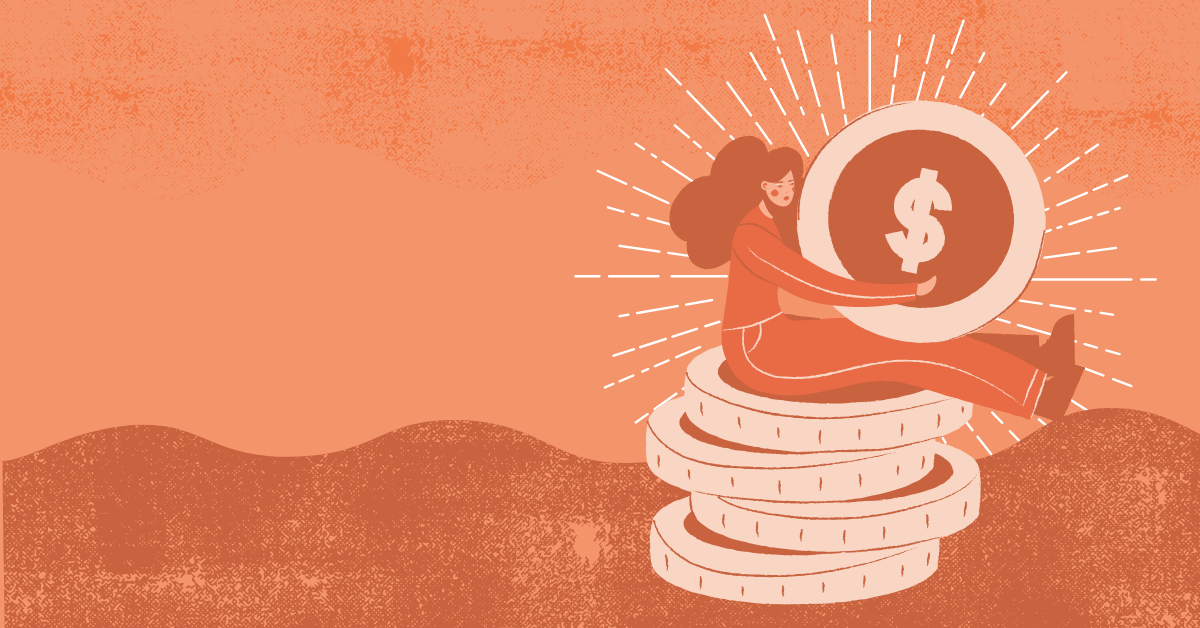 Illustration of a woman sitting on a pile of coins and holding one up over an orange wavy background