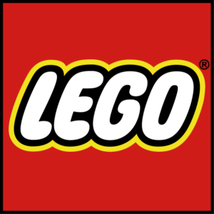 Red box with white text that says LEGO