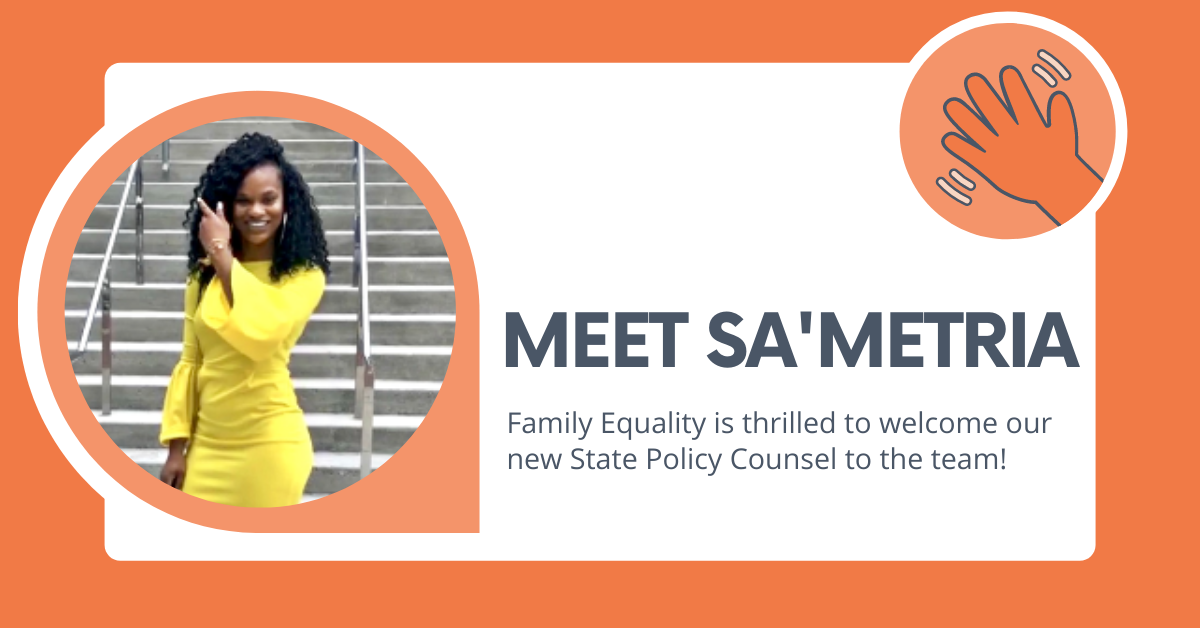 """Text that says """"Meet Sa'Metria: We're thrilled to introduce you to the new State Policy Counsel!"""" with a photo of Sa'Metria and a hand waving"""