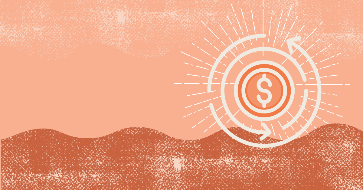 Illustration of a dollar sign with an arrow around it